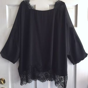 LANE BRYANT Lace Trim Open Back Top